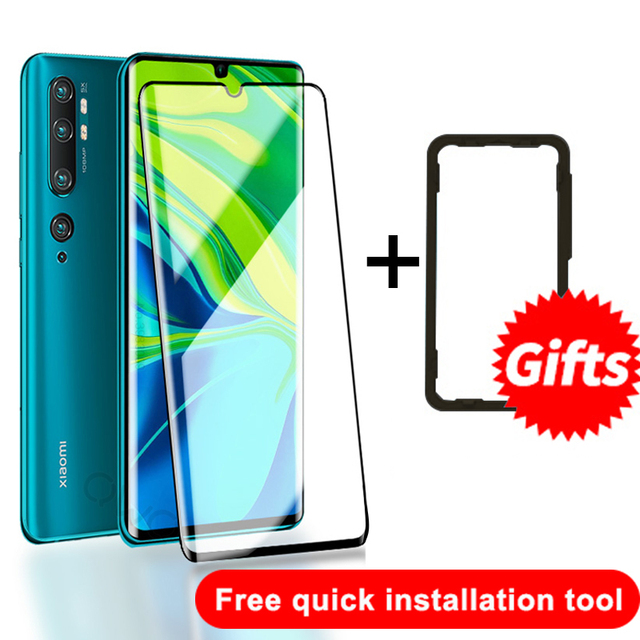 Tempered Glass On The For Xiaomi Mi Note 10 Lite Screen Protection Full Glue Curved Glass Xiaomi 11 10 Pro CC9 Protective Film 6