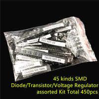 45 tipi di comunemente usato SMD Diodo Transistor Regolatore di Tensione Totale 450pcs della miscela di componenti Elettronici Kit assortiti
