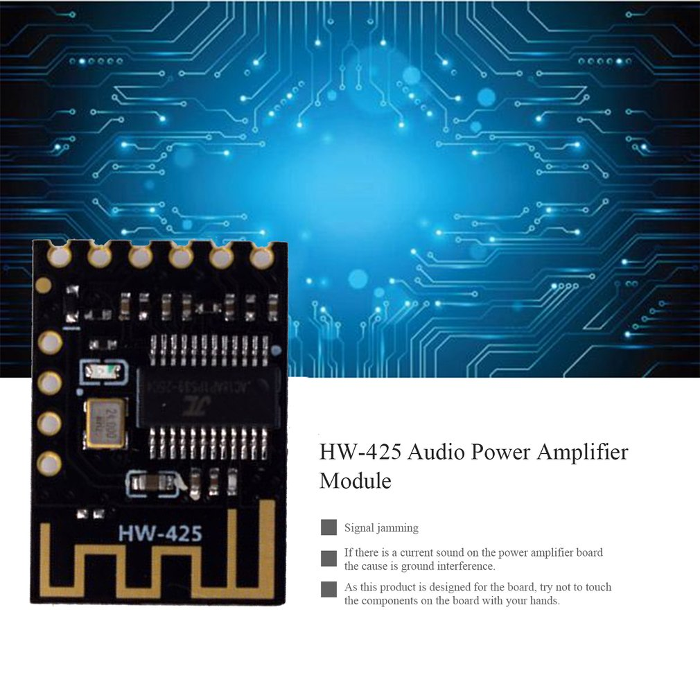 Hw-425 Digital Audio Amplifier Board Wireless Audio Module 4.2 Stereo Lossless High Fidelity Hifi Diy Modification Black