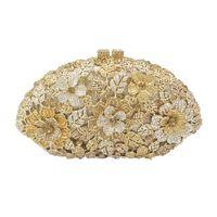 2019 Glitter Flower Clutch Shell Shaped Evening Purse Bag Women Formal Dinner Handbag Wedding Party Prom Bridal Shoulder Bags