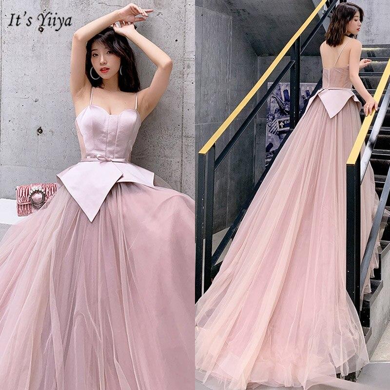 It's Yiiya Evening Dress Boat Neck Sleeveless Spaghetti Strap Robe De Soiree Backless Floor-Length Women Party Dresses V087