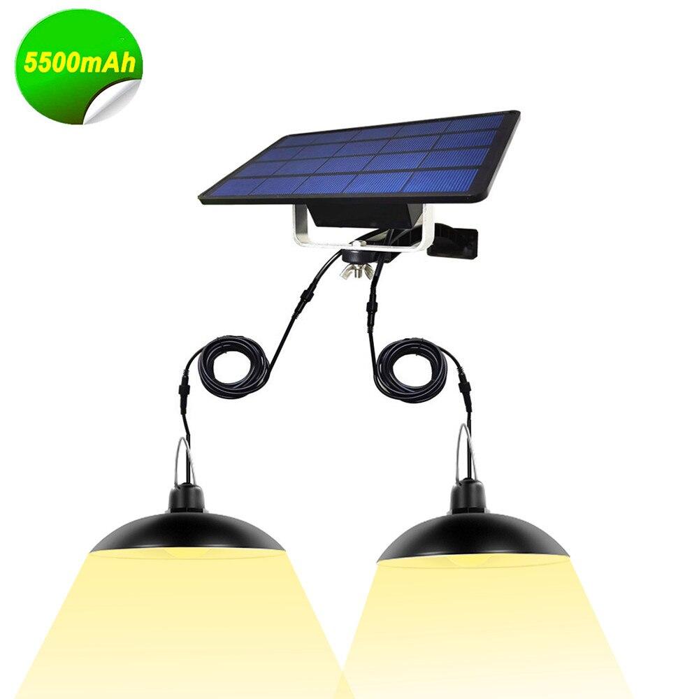 Camping2 in 1 Double Head Solar Pendant Light Outdoor Indoor Garden Lamp Lights
