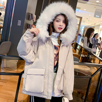 2019 New Winter Jacket Women Big Pocket Down Parkas Women Solid Faux Fur Hood Jacket Coat Lady Cotton Parkas