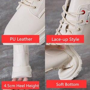 Image 5 - Nowy 2020 kobiet botki PU skórzane sznurowane jesienne buty zimowe kobieta kliny buty krótkie damskie damskie Botas SH09061