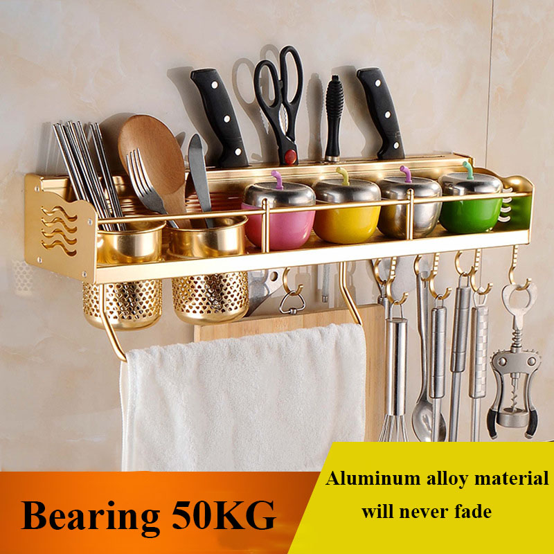 Multifunctional Wall Mounted Pot Pan Rack Kitchen Bookshelf Bottle Rack Cutlery Blocks Hanger Hooks Organizers Space Aluminum