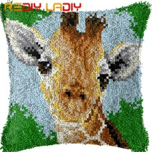 Latch Hook Cushion Giraffe Head Pre-Printed Canvas Cushion Cover Acrylic Yarn Crochet Pillow Case Set Hobby & Crafts Home Decor(China)