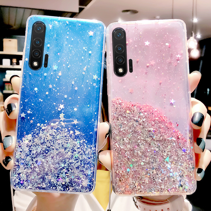 Glitter Bling Sequins <font><b>Case</b></font> For Huawei Nova 6 SE 5 5i 3 3I P20 P30 Lite P Smart Plus Z 2019 <font><b>Honor</b></font> 10i <font><b>20i</b></font> 9X 20 Pro V30 Cover image