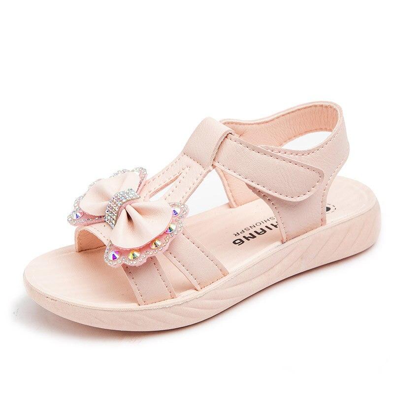 Сандалии принцессы для девочек 3 12 лет, модная летняя обувь с бантом, детские пляжные босоножки для студентов, 2020|Сандалии| | АлиЭкспресс