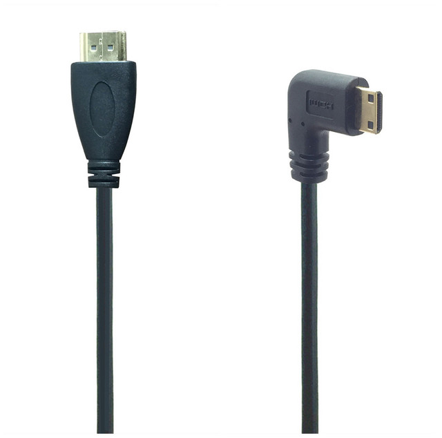 0.5M 90 Degree Angle Mini HDMI To HDMI Male M/M Cable Connector V1.4 For DSLR Video Camera LCD Monitor