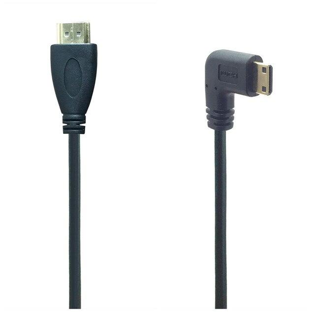 0.5M 90 Gradi Angolo di Mini HDMI A HDMI Maschio M/M Connettore del Cavo V1.4 Per DSLR Video Camera monitor LCD