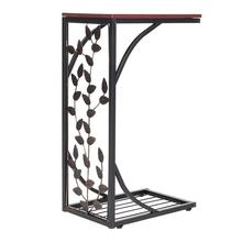 54*30.5*21CM Leaf Pattern Iron Side Table Coffee Table Brown