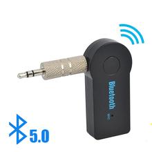 Bezprzewodowy odbiornik nadajnik do muzyki w aucie urządzenie 2 w 1 Bluetooth 5 adapter 3 5mm jack audio aux A2dp słuchawki zestaw głośnomówiący tanie tanio HCQWBING 3 5mm NONE CN (pochodzenie) Brak Podwójne 2 4g H161