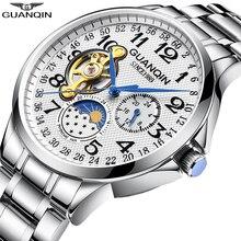 GUANQIN мужские часы Топ бренд класса люкс деловые автоматические часы турбийон водонепроницаемые механические часы relogio masculino