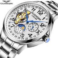 GUANQIN 2019 hommes montres haut de gamme affaires de luxe automatique horloge Tourbillon étanche mécanique montre relogio masculino