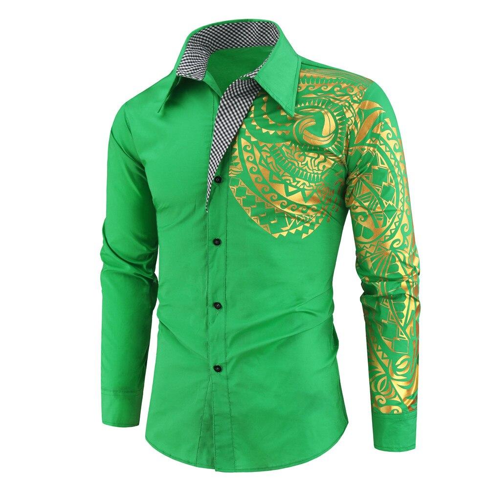H020e1f4eb5d744048fa5855d064b4f17n 2021 Luxury Gold Black Shirt Men New Slim Fit Long Sleeve Camisa Masculina Gold Black Chemise Homme Social Men Club Prom Shirt