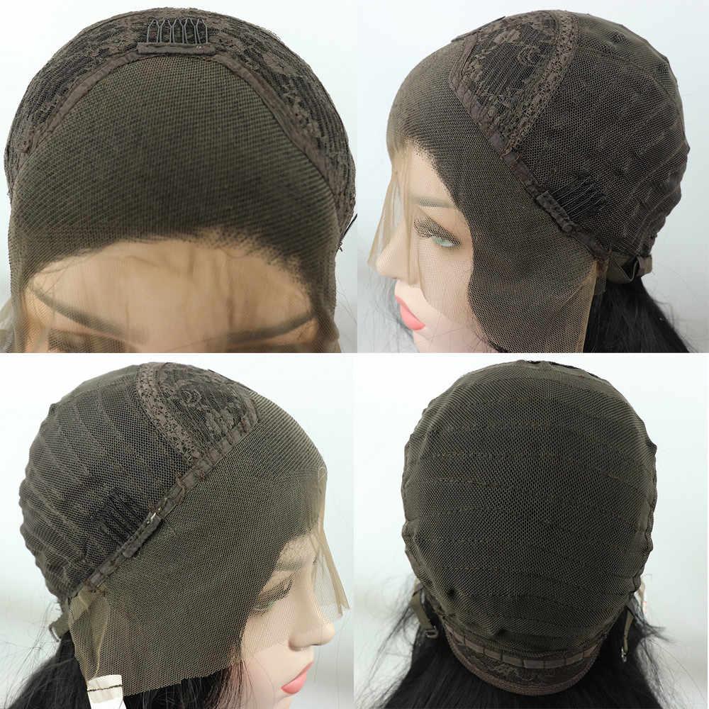 13*4 verworrene Lockige Haar Synthetische Spitze Front Perücken Wärme Beständig Faser Schwarz Lange Lockige Spitze Perücken mit Baby haar für Frauen