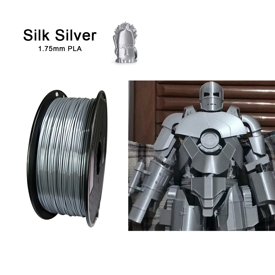 PLA 3D Printer Filament 1.75mm Silk Silver 250g/500g/1KG Shiny Metallic Feel 3D Printing Material Silky Shine Filament