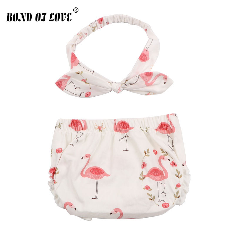 Fashion Baby Shorts & Headband Set Baby Boy Girl Cotton Flamingo Pattern Diaper Cover Toddler Cotton Baby Bloomers Clothes