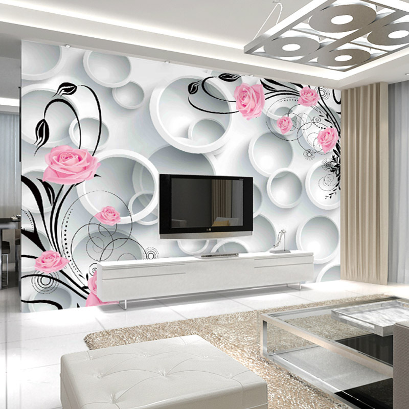 Modern Minimalist Fresh 3D TV Backdrop Large Mural Living Room Sofa Non-woven Wallpaper