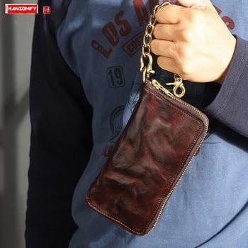 Original Handmade leather men wallet Cowhide Men's Long Wallet Copper Chain Pants Zip card Wallet Retro Old Folded Clutch bag