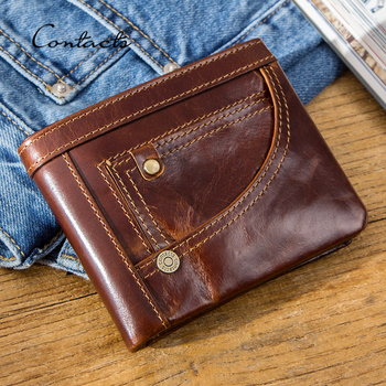 CONTACT'S Genuine Leather Wallet Men RFID Small Portfel Card Holder Wallets Vintage Short Coin Purse for Male Bifold Money Bags thinkthendo vintage men crazy horse leather bifold wallet genuine leather wallet card holder
