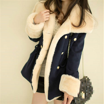 Fast Shipping  Winter Warm Coats Women Wool Slim Double Breasted Coat Jacket Fur S Jackets