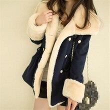 Livraison rapide hiver chaud manteaux femmes laine mince Double boutonnage laine manteau hiver veste femmes fourrure femmes manteau vestes
