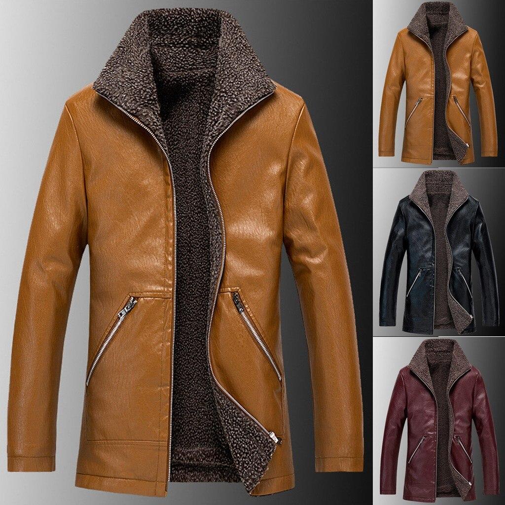 Jacket Winter Coat Motorcycle Support Biker Zipper Blouses Coat-Top Long-Sleeve Men