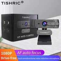 TISHRIC-cámara Web T200 con enfoque automático, 1080p, con micrófono para cámara Web, para videollamadas de ordenador