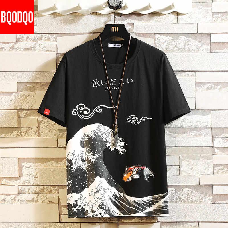 面白いアニメプリント特大の男性 tシャツヒップホップコットン tシャツ o ネック夏日本人男性因果 tシャツ 5XL ファッションルース tシャツ