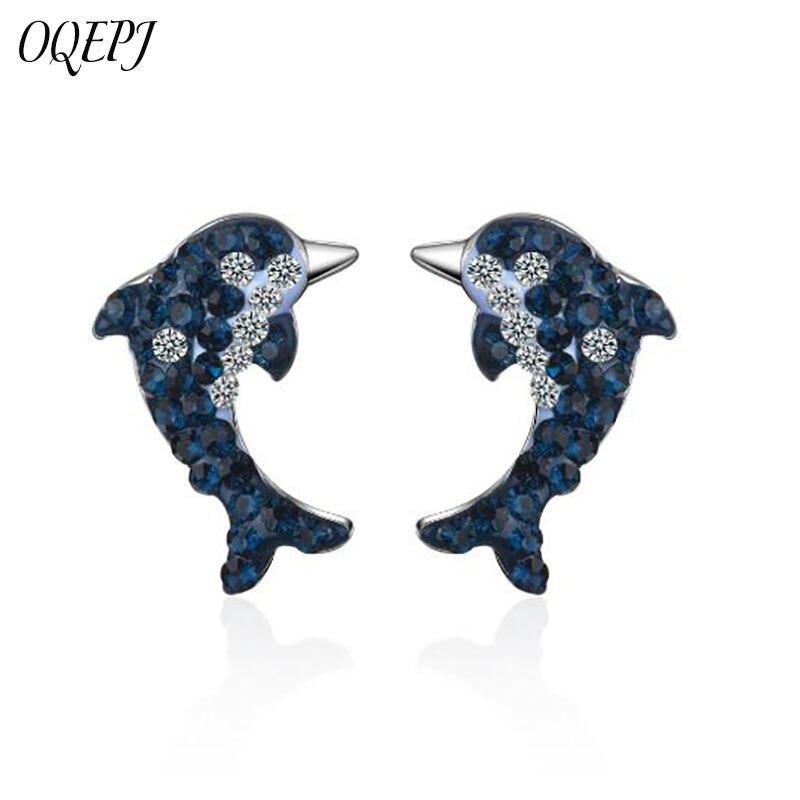 OQEPJ Trendy Blue White Rhinestone Dolphin Earrings 925 Sterling Silver Cute Simple Sea Animal Earring Elegant Women Jewelry
