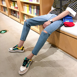 Japanese Korean Simple A- line with Holes Denim (Ankle-length Pants) Men's Trend Slim Fit Skinny Pants Summer 9 Points Pants N85