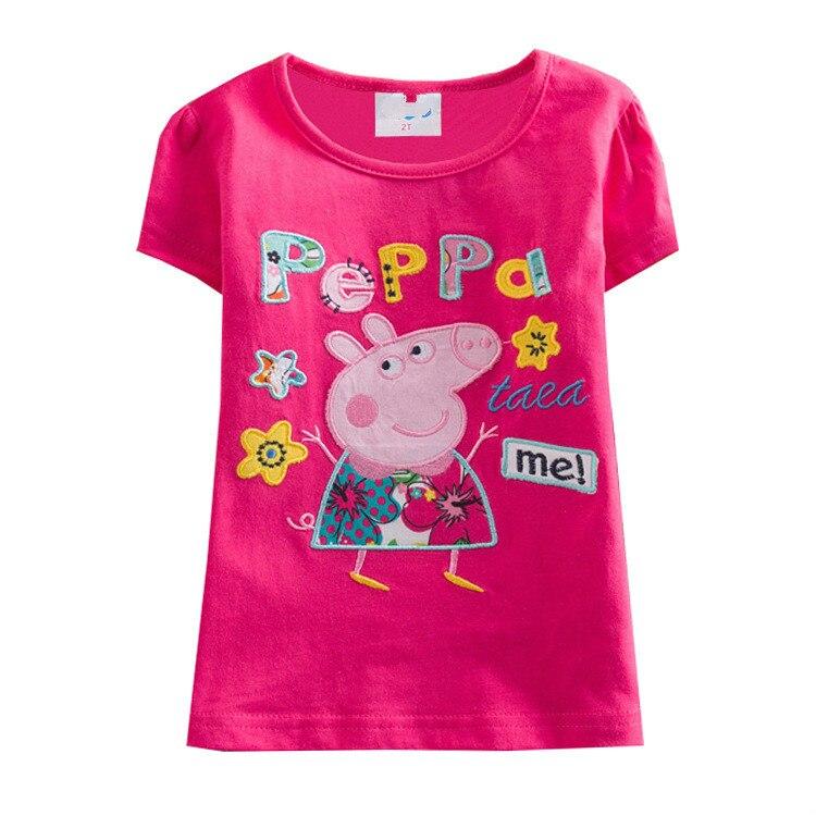 Peppa Pig enfants bébé fille printemps princesse à manches courtes T-shirts vêtements haut coton décontracté fille bébé sweats 1-6Y