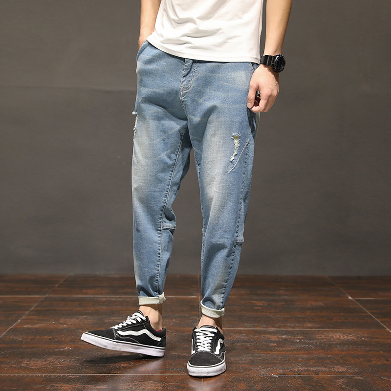 Men Jeans Pants Scratched Loose Ankle-Length Big-Size Casual Fashion Denim Solid Homme