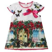 Floral Girls Dress Print Kids Dresses For Girls Cotton Summer Short Sleeve Crew Neck Dress 2-6 Years Shein Vestidos infantil D35 цена 2017