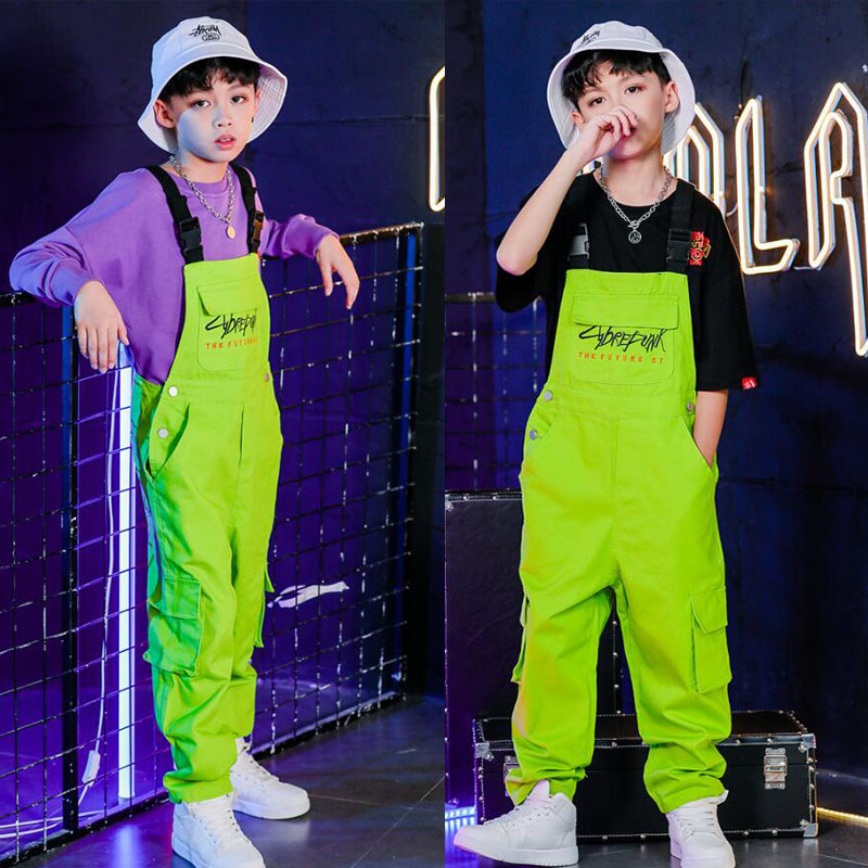 Kids Jazz Hip Hop Dance Clothes for Girls Boys Frock Sweat shirt Tops bib  pants Ballroom Dancing Costumes Overall Wear Outfits