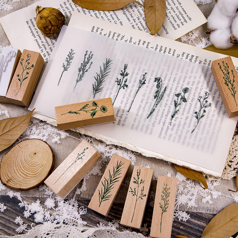 Wooden Rubber Stamps Set Vintage Plants Flowers Diy Rubber Stamp Set For Card Making Scrapbooking