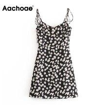 Aachoae Women Sexy Spaghetti Strap Floral Print Dress Backle