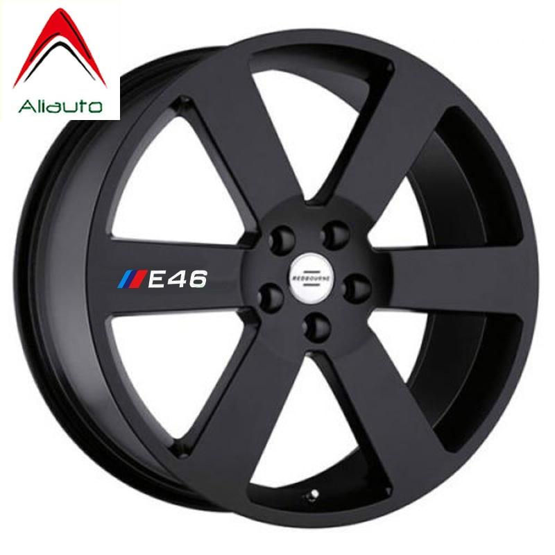 Aliauto 4 X Car Tires & Rim Sticker Decal Accessories For BMW 1 3 5 Series X1 X3 X5 X6 M3 M5 E30 E34 E36 E39 E46 E60 E90