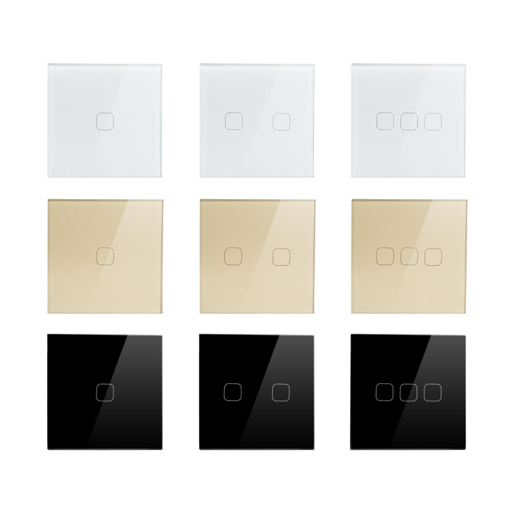Power Touch Switch 1/2/3 Gang 1 Way LED light Switch Wall Recessed White/black/gold Glass Panel 220V EU UK lamp interruptor
