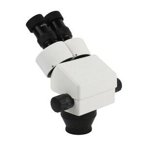 Image 2 - 7x 45x zoom contínuo ampliação microscópio estéreo microscópio binocular industrial led anel de luz para o telefone pcb solda