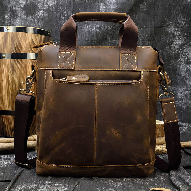 MAHEU High Fashion Crazy Horse Luxury Men Leather Handbags Men's Laptop Handbag Briefcase Shoulder Bag With Notebook Compartment