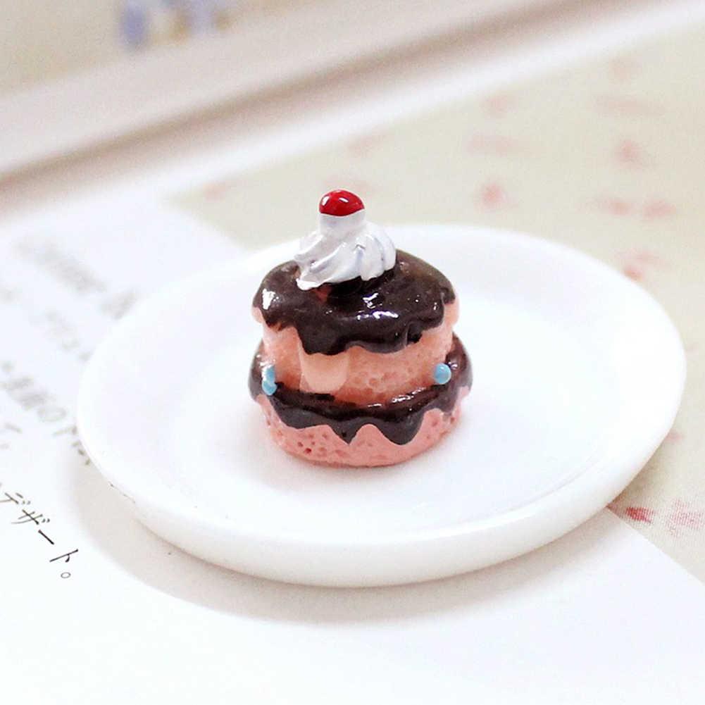 3 pçs simulação bolos de chocolate em miniatura comida estatueta casa de bonecas acessórios decorar sua casa de bonecas bonito adicionar algum animado aure