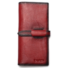 RFID Blocking 100% Genuine Leather Cowhide Vintage Hand Paint Men Long Wallet Coin Purse Vintage Designer Male Carteira Wallets