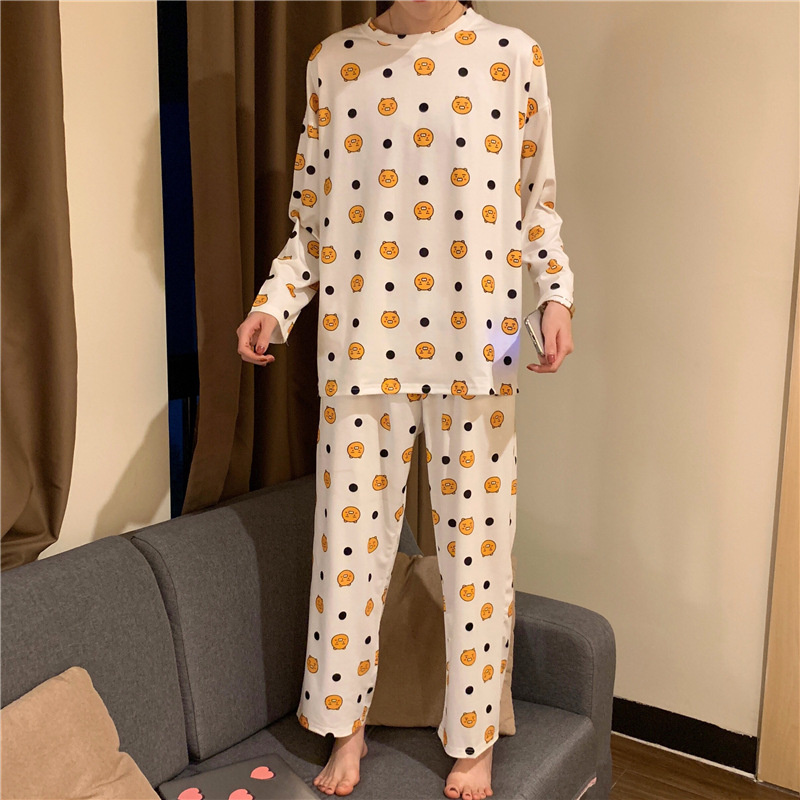 Spring And Autumn Korean-style Pajamas Women's Comfortable Casual Qmilch Thin Home Wear-Foreign Trade Original Garment Bear Long