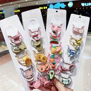 Bande caoutchouc élastique 10 pièces/ensemble | Cheveux mignons bande de dessin animé, cheveux en résine coréenne, Scrunchies, cravates pour enfants, accessoires pour cheveux