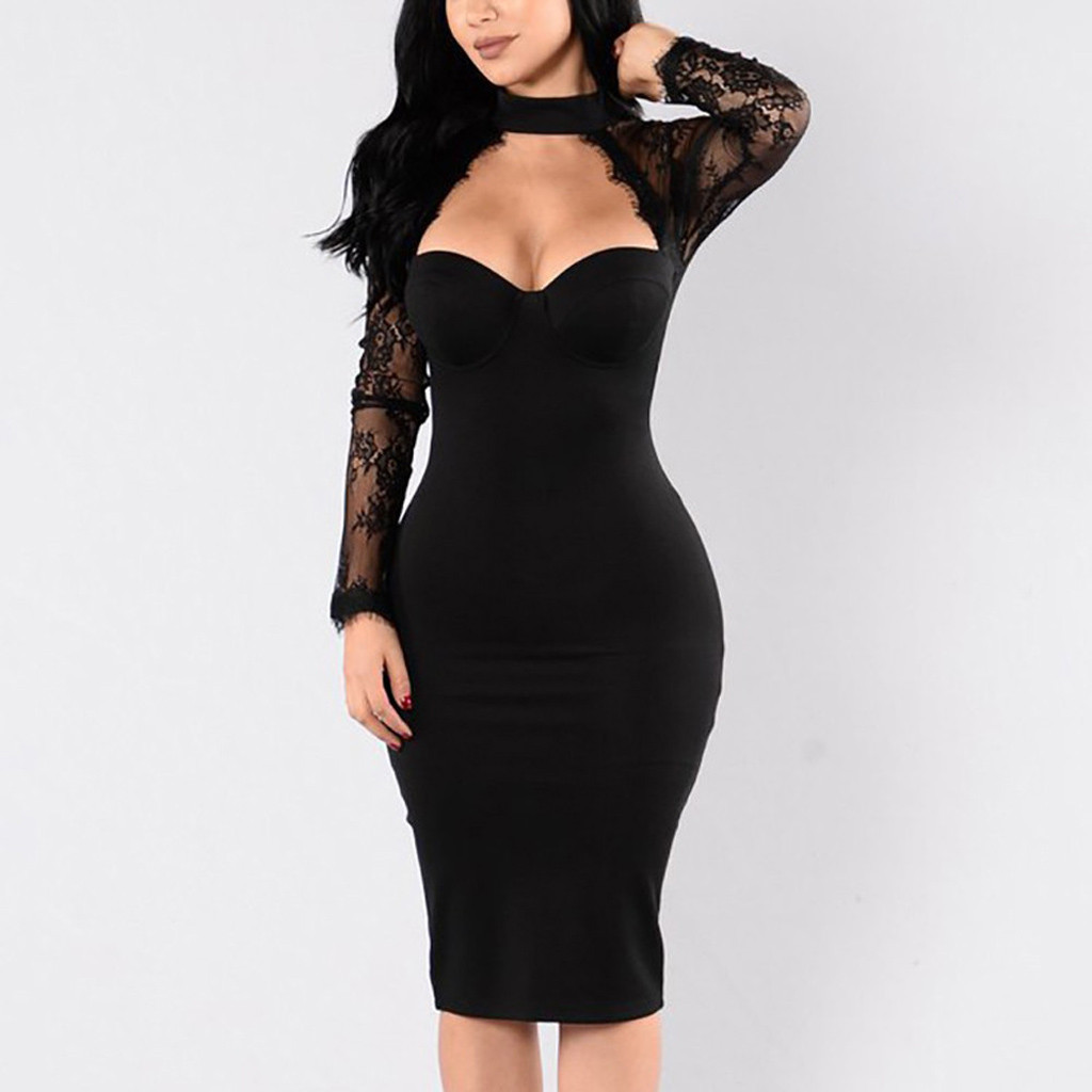 Winter Lace Bandage Dress Women Hot Sexy Hollow Out Long Sleeve Club Dress Elegant Celebrity Evening Party Dress #E
