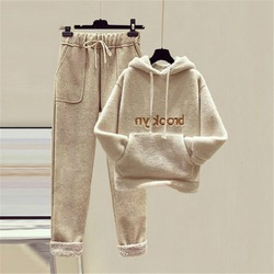 Women's winter home clothes 2 piece sets womens outfits ladies thicken pullover hoodies sweatshirts Home Warm suit for women