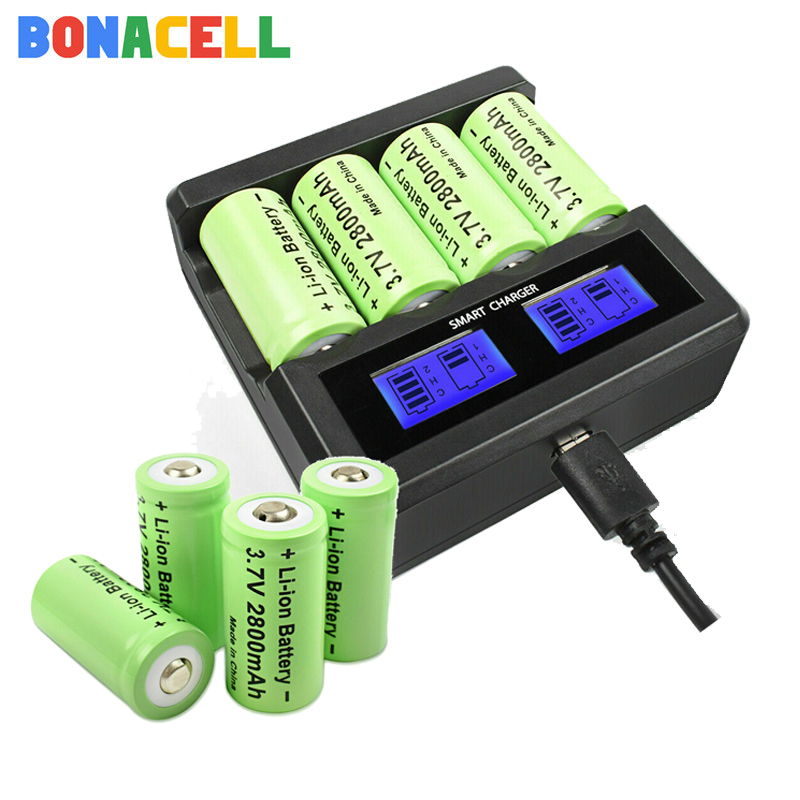 Bonacell 8Pcs 2800mAh <font><b>16340</b></font> CR123A Recharge <font><b>Battery</b></font> + LCD Charger for Arlo Security Camera image