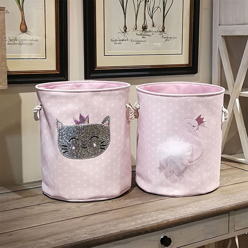 35*40cm Sundries Storage Barrels High Capacity Pink Swan Cat Foldable Toy Storage Box Home Organizer Dirty Laundry Basket Canvas